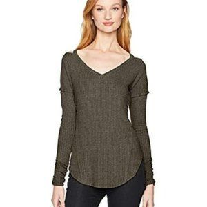 William Rast Cold Shoulder Green Knit Tunic Top XL